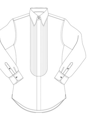 Black Tie half pleated front, concealed buttons