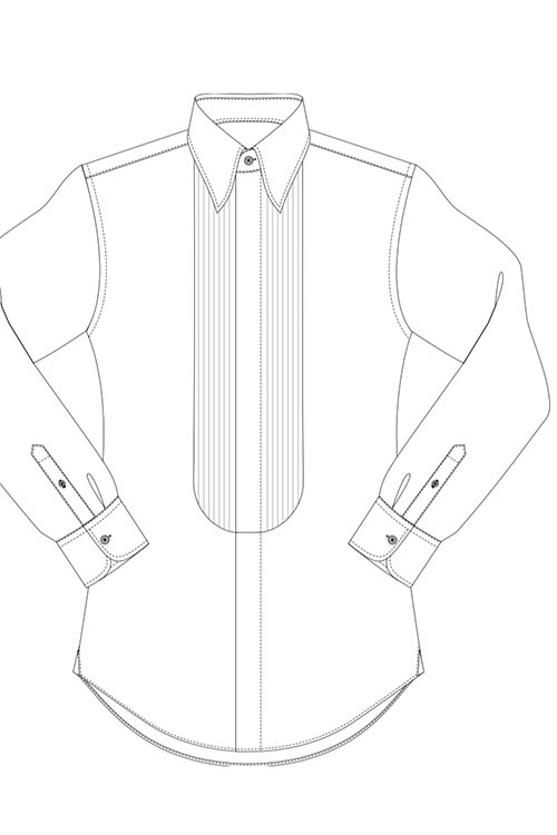 Half pleated front, concealed buttons