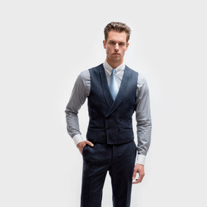 Style 12: Double breasted 6 x 3 buttons, shawl lapel, straight bottom.