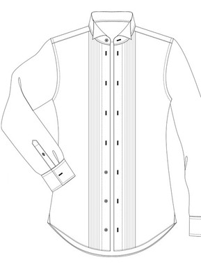 White Tie, pleated front, 4 studs