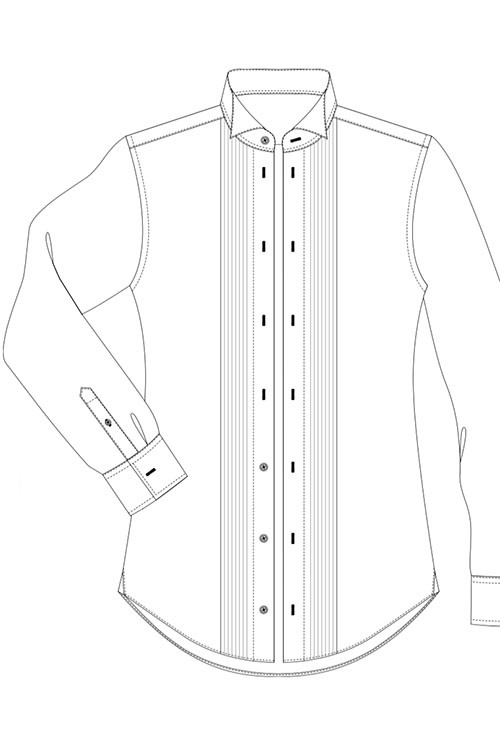 Evening shirt, pleated front, 4 studs