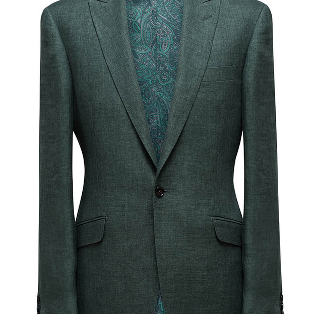 Single Breasted, peak lapel, one button