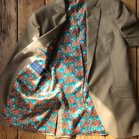 Holland & Sherry cashmere with designer silk art lining