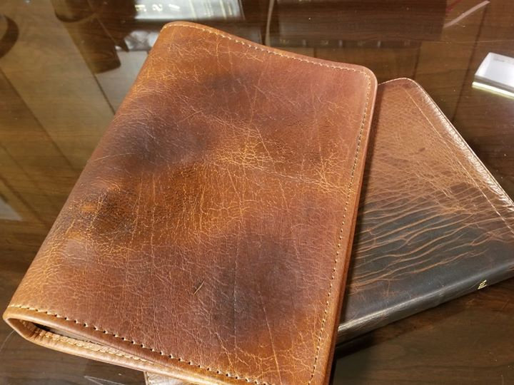 Preacher Distressed Tobacco full-grain cowhide A5 size