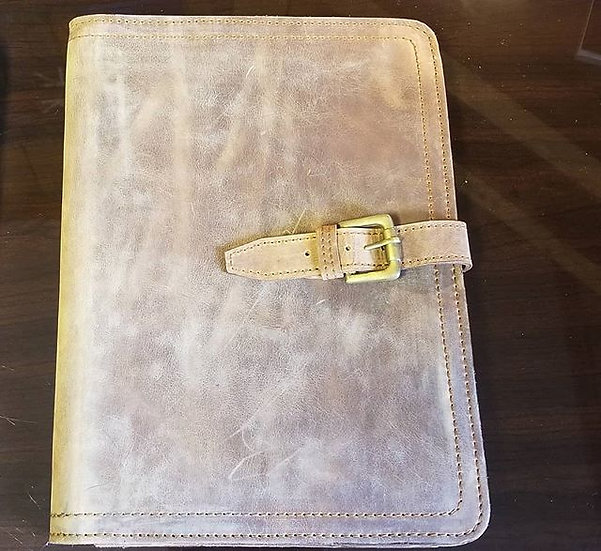 Large Portfolio in Tobacco leather with extra large pocket and strap