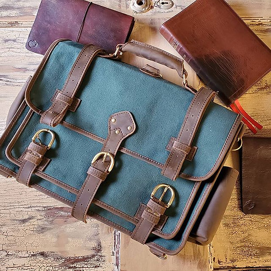 Green Canvas and Leather Messenger Bag
