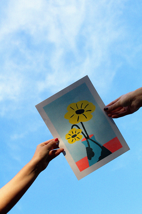 AFFICHE A4, Fleurs dans Vase (risographie)