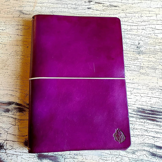 Purple Edwards Journal in Veg Tan leather
