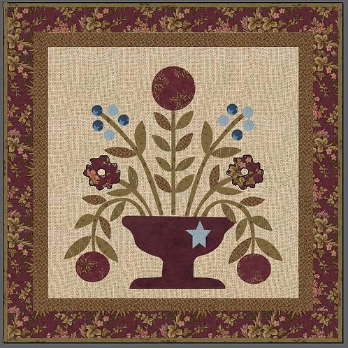 Rose Urn Wallhanging digital pattern
