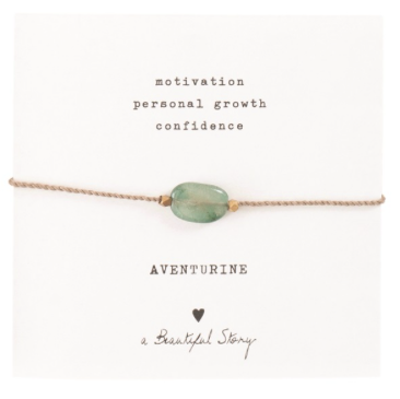 Gemstone Card Aventurine Gold Bracelet, a Beautiful story, fairtrade