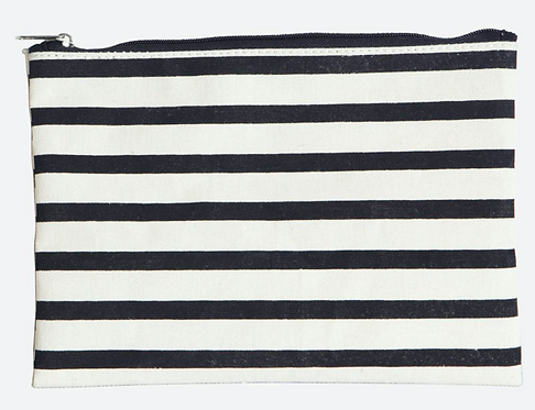 House Doctor Make-Up-Tasche, Stripes, Schwarz/Weiß