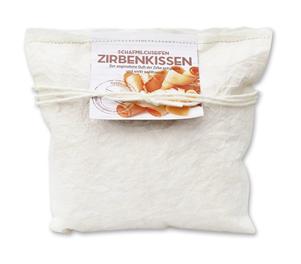 Zirbenkissen klein weiss gefüllt mit Zirbenspäne & Schafmilchseife