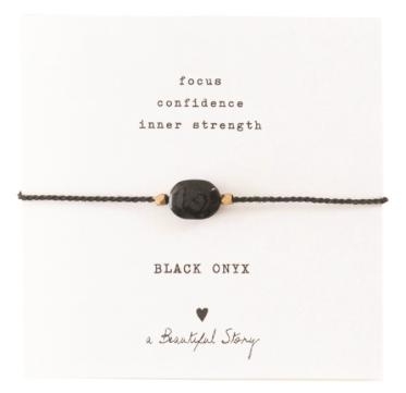 Gemstone Card Black Onyx Gold Bracelet, a Beautiful story, fairtrade