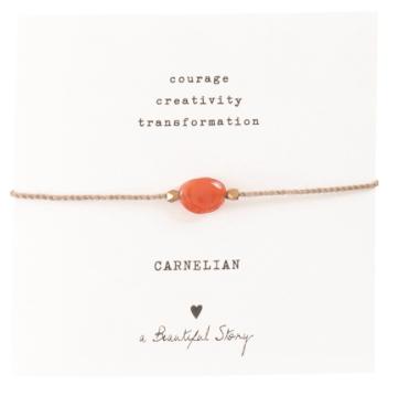Gemstone Card Carnelian Gold Bracelet, a Beautiful story, fairtrade