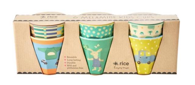 """Rice Melamin Kinder Becher 6er Set klein """"Bunny"""" green"""