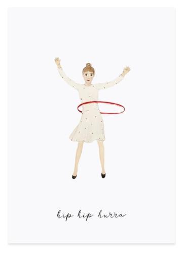 Postkarte Glückwunschkarte Hip Hip Hurra von Eulenschnitt