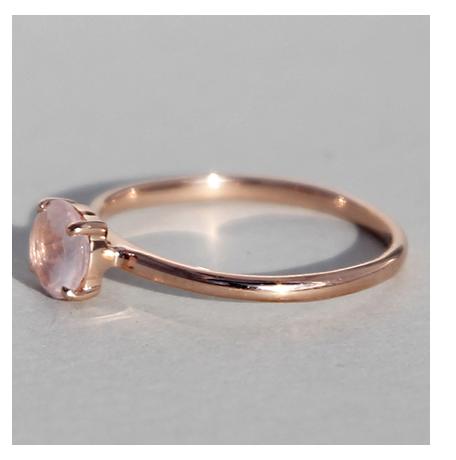 Silberring rosé vergoldet Rosenquarz   Krone