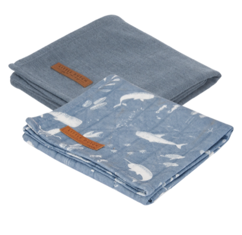 Little Dutch Swaddle Tuch 70x70cm ocean blue