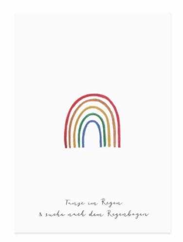 Postkarte Glückwunschkarte Regenbogen von Eulenschnitt