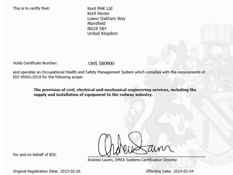 Kent PHK Ltd is bsi ISO45001:2018 Certified!!