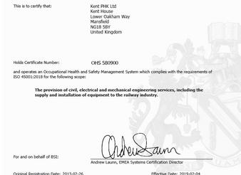 Kent PHK Ltd is bsi ISO45001:2018 Certified!!
