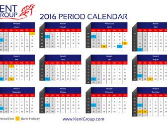 2016 Period End Calendar