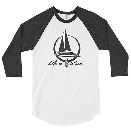 """Men's Baseball Tee - """"Life at 8 Knots"""" -  Featuring Sailing Catamaran"""