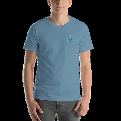 "Men's Short Sleeve T-Shirt - ""Life at 8 Knots"" - Featuring Sailing Catamaran"