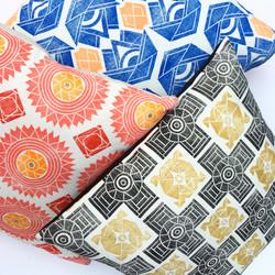 Hand printed throw pillows