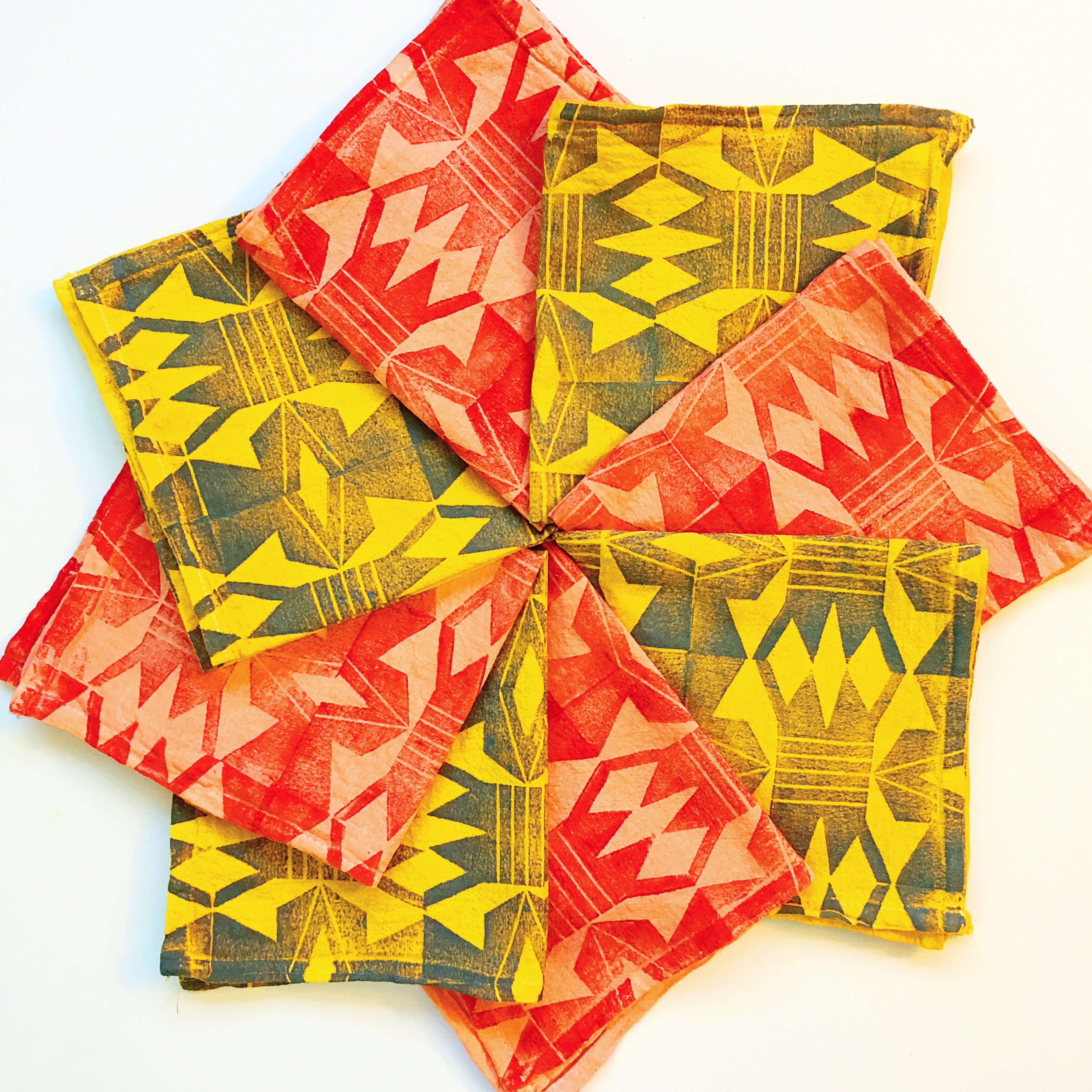 hand dyed and printed napkins