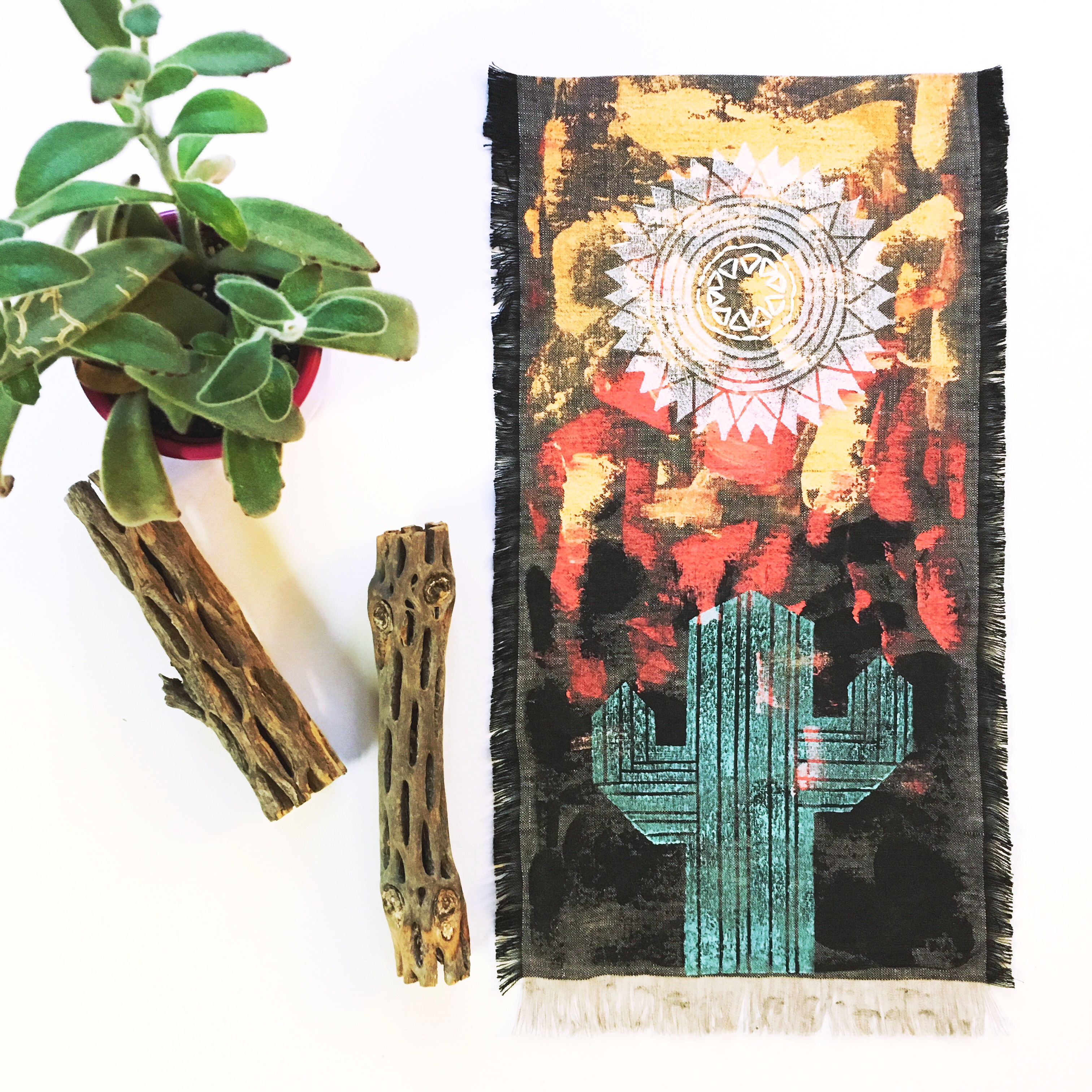 Painted and embroidered wall hanging