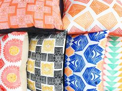 Block printed pillows