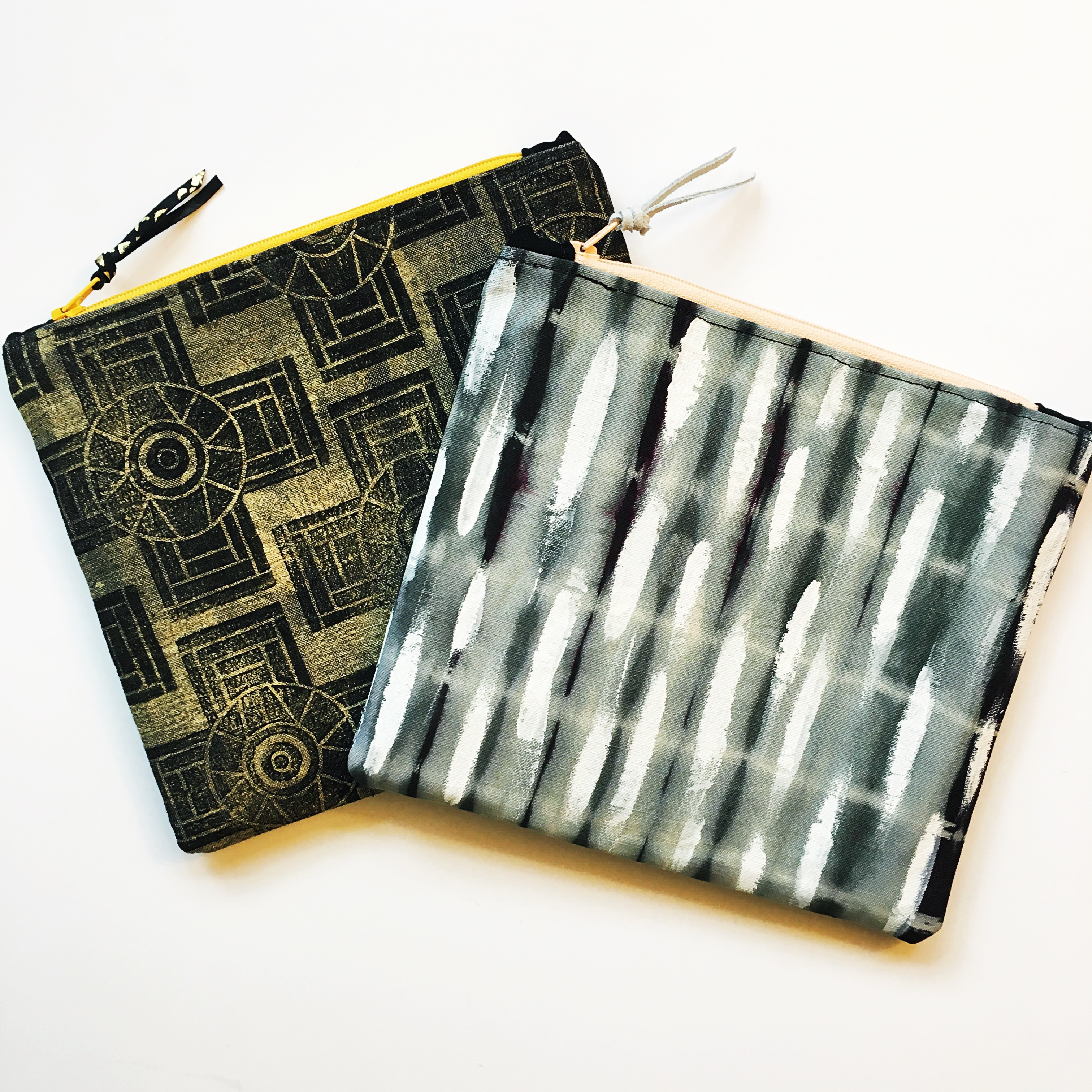 Hand painted and printed clutches