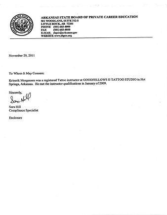 Krisrik Mogensen Credentials from Arkansas State Board of Private Career Education