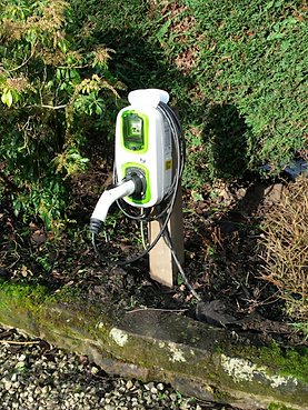 Electric Vehicle Car Charger Installed on Post
