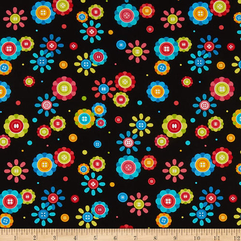 Sew Excited Cute As A Button Black
