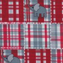 Elephants On Red and Gray Plaid