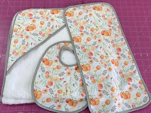 Peaches Baby Set (Hooded Towel, Bib, Burp Cloth)
