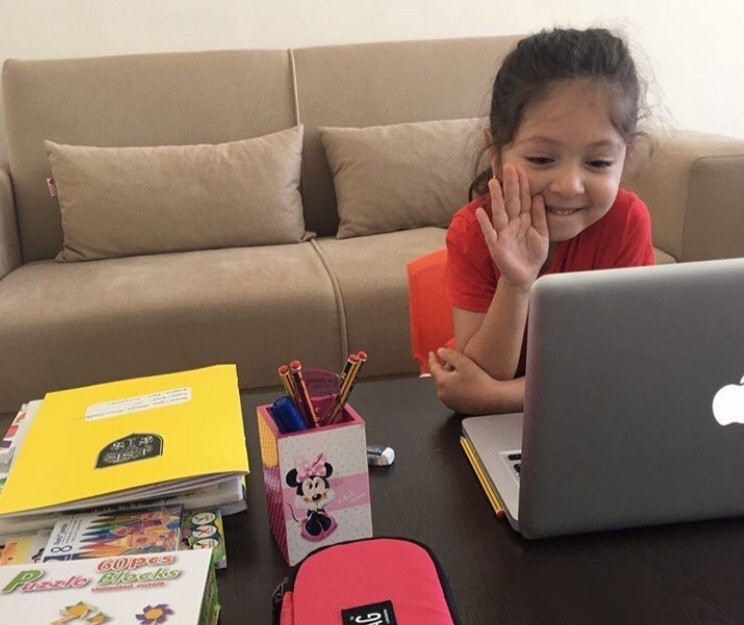 primary student studing at home
