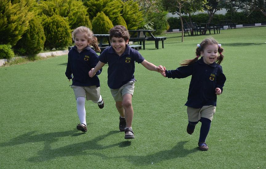 happy primary school students