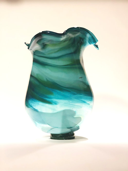 Multi-Green Splayed Vase
