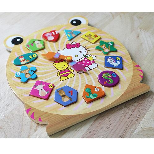 Bộ đồng hồ gỗ ghép hình cao cấp Prota dành cho bé gái + quà tặng