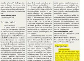 """""""El Primer Año de Vida Importa"""" Carta publicada en Diario La Segunda"""