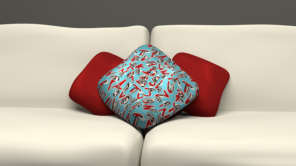 pattern design, illustration, vector design, vector pattern, alphabet pattern, typography, graphic design, typeface, font, fabric design, 3d, 3d sofa, 3d cushion, cushion design, alphabetti,