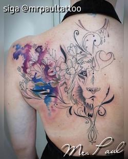 leão line work aquarela tatuagem tattoo