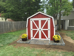 New shed barn, edging, and entry