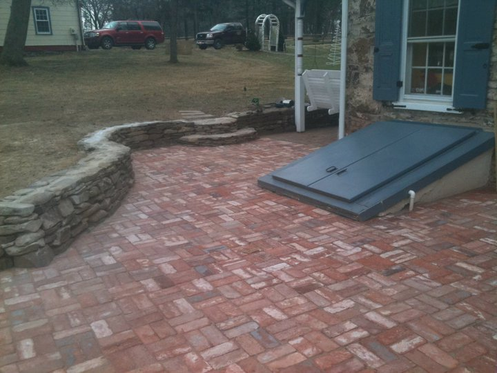 Patio, wall, and steps