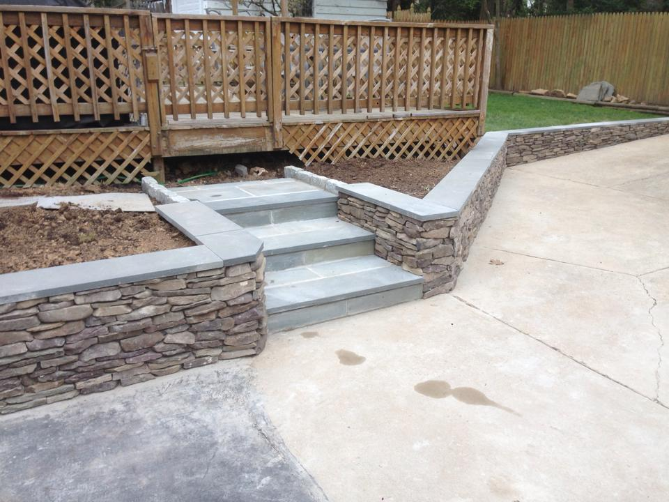 New wall and steps