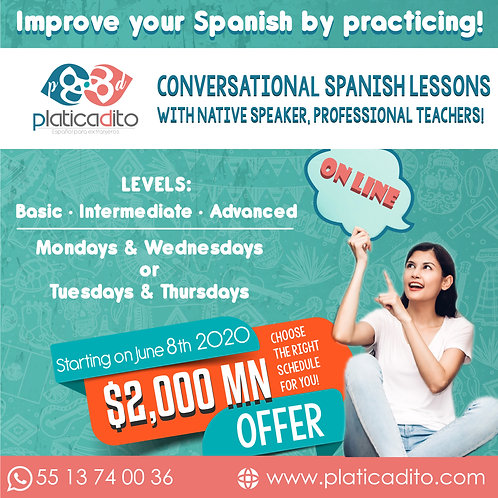 Course Conversation spanish lessons with native speaker professional teachers