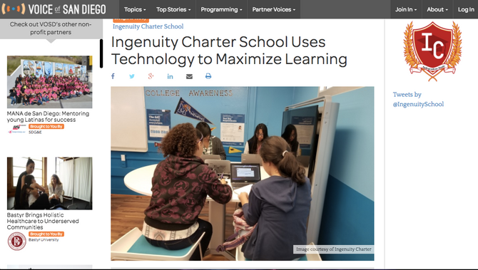 Ingenuity Charter School Uses Technology to Maximize Learning